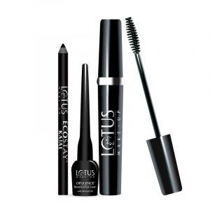 Lotus Herbals Make-up Eye Love Kit of Ecostay, Kajal Mascara & opulence eyeliner (9.2gm)