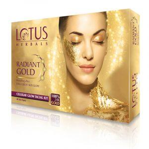 Lotus Herbals RADIANT GOLD Cellular Glow Facial Kit Pack-of-4 (53gm)